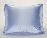 Blue Satin Pillowcase with White Pin for Women and Teens
