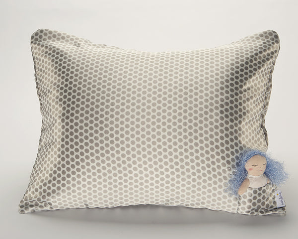 Grey Polka Dot Satin Pillowcase for Kids with Harriet Doll