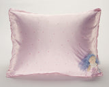 Pink Pin Dot Satin Pillowcase for Kids with Harriet Doll