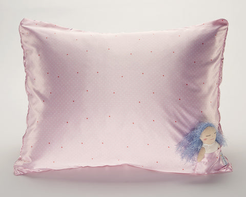 Pink Pin Dot Satin Pillowcase for Kids