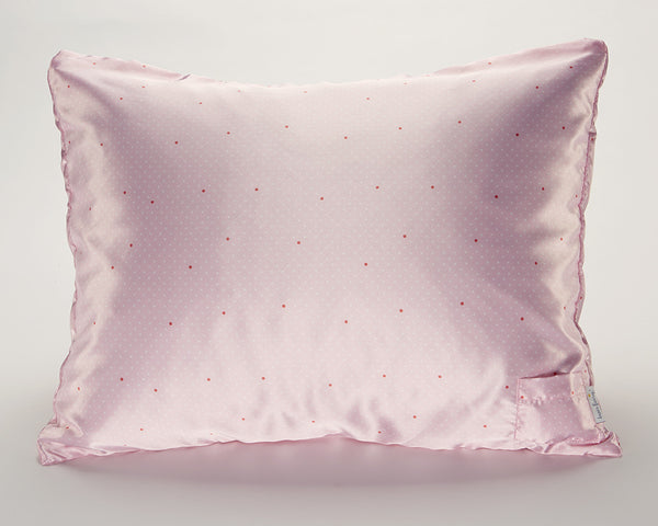 Pink Pin Dot Satin Pillowcase for Women