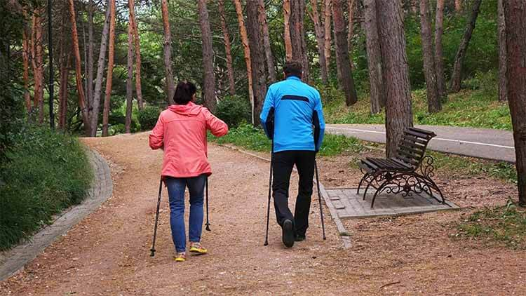 A-woman-and-a-man-engaged-in-Nordic-walking-in-the-Park.-Healthy-lifestyle.