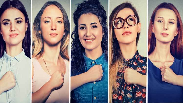 Group of multicultural confident women determined for a change