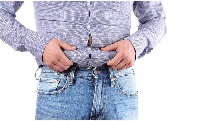 Man overweight and big fat belly