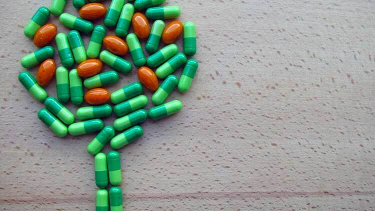 Natural herbal supplements in the shape of a tree