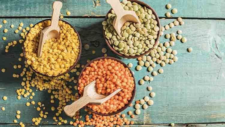 Red yellow green lentils