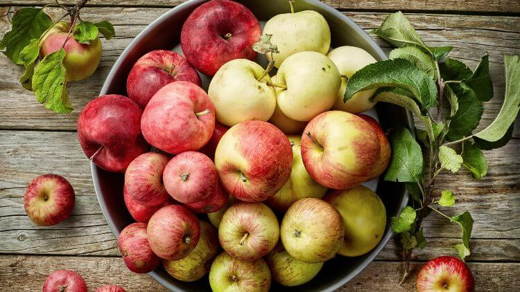 Fresh res apples in bowl on wooden surface