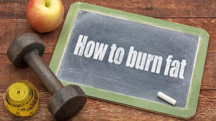 How to burn fat written on chalk board next to dumbbell and apple