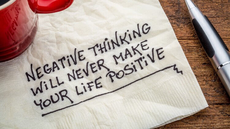 Napkin with positive thinking quote on