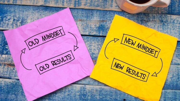 Positive mindset post notes on wooden surface