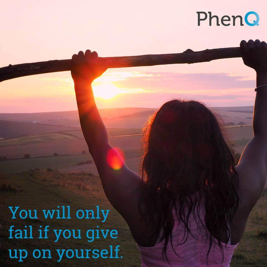 Weight loss quote - You will only fail if you give up on yourself.