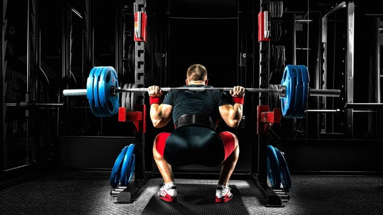 Athlete in gym doing barbell squats