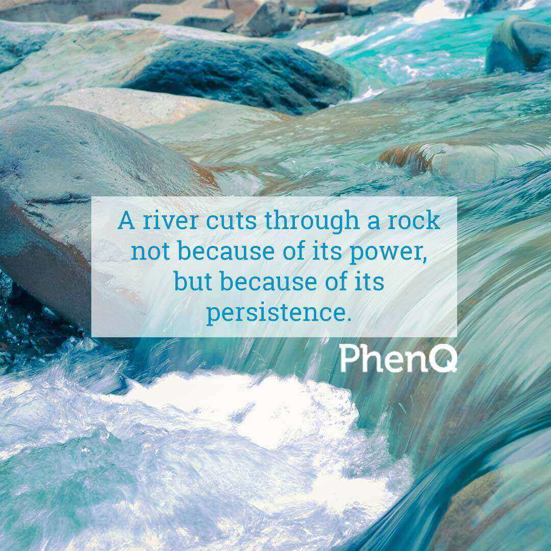 Weight loss quotes - A river cuts through a rock not because of its power, but because of its persistence.