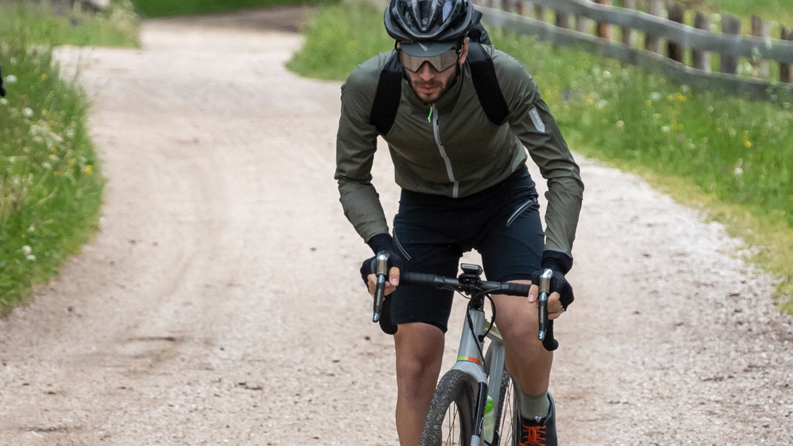 Q36.5 Cycling Air Shell Wind Jacket in Olive.