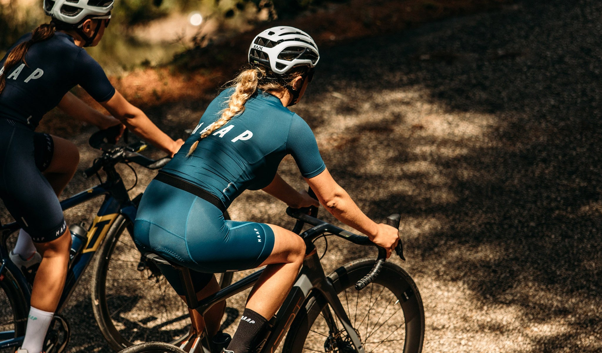 MAAP Women's Team Bib Shorts in Slate Blue for riding in warm weather conditions.