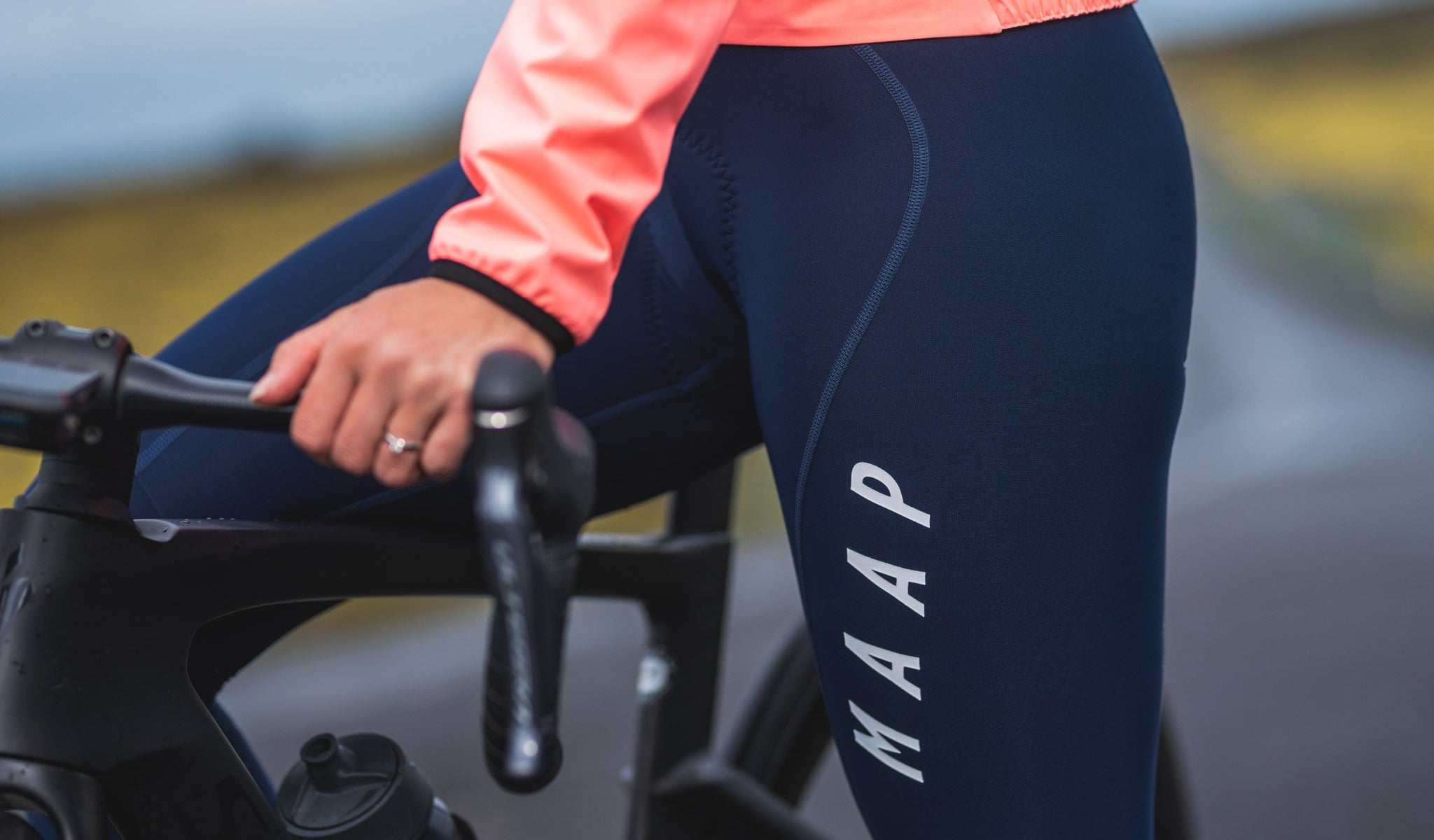 MAAP Women's Team Thermal Cycling Bib Tights in Navy for riding in cold weather conditions.