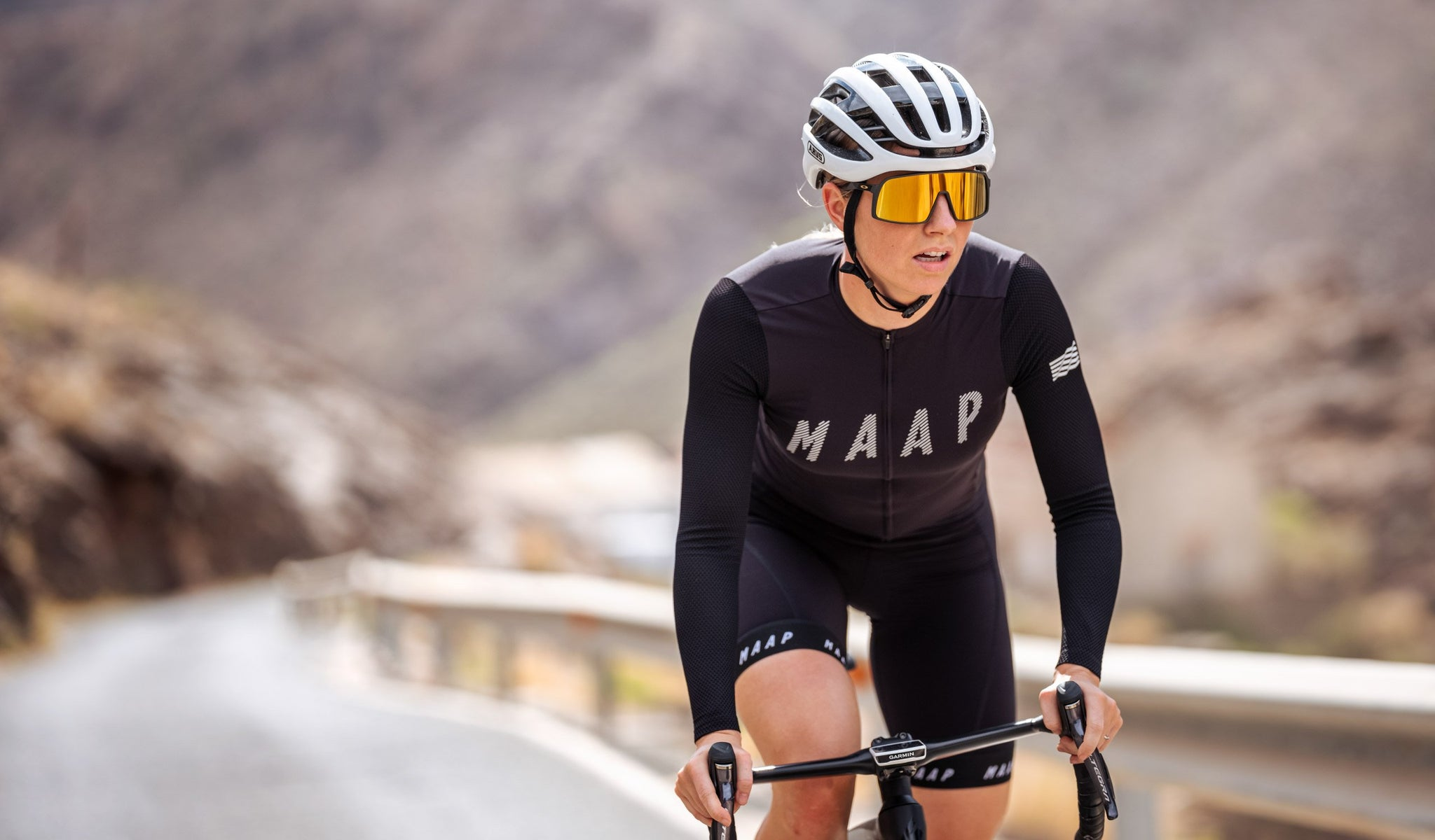 MAAP Women's Echo Pro Base Long Sleeve Cycling Jersey in Black for riding in mild weather conditions.