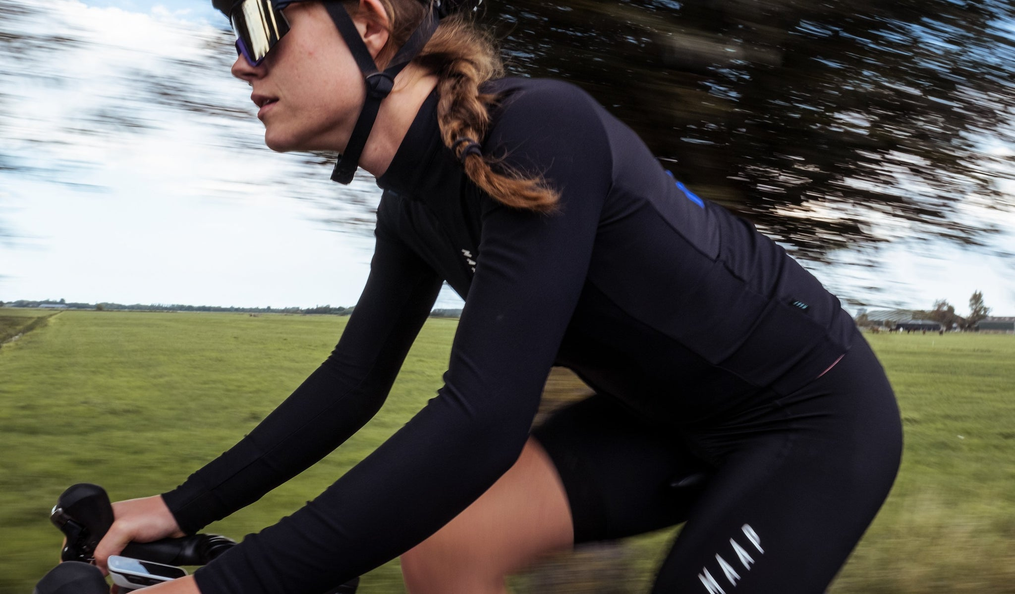 MAAP Women's Training Long Sleeve Cycling Jersey in Black for riding in mild conditions.