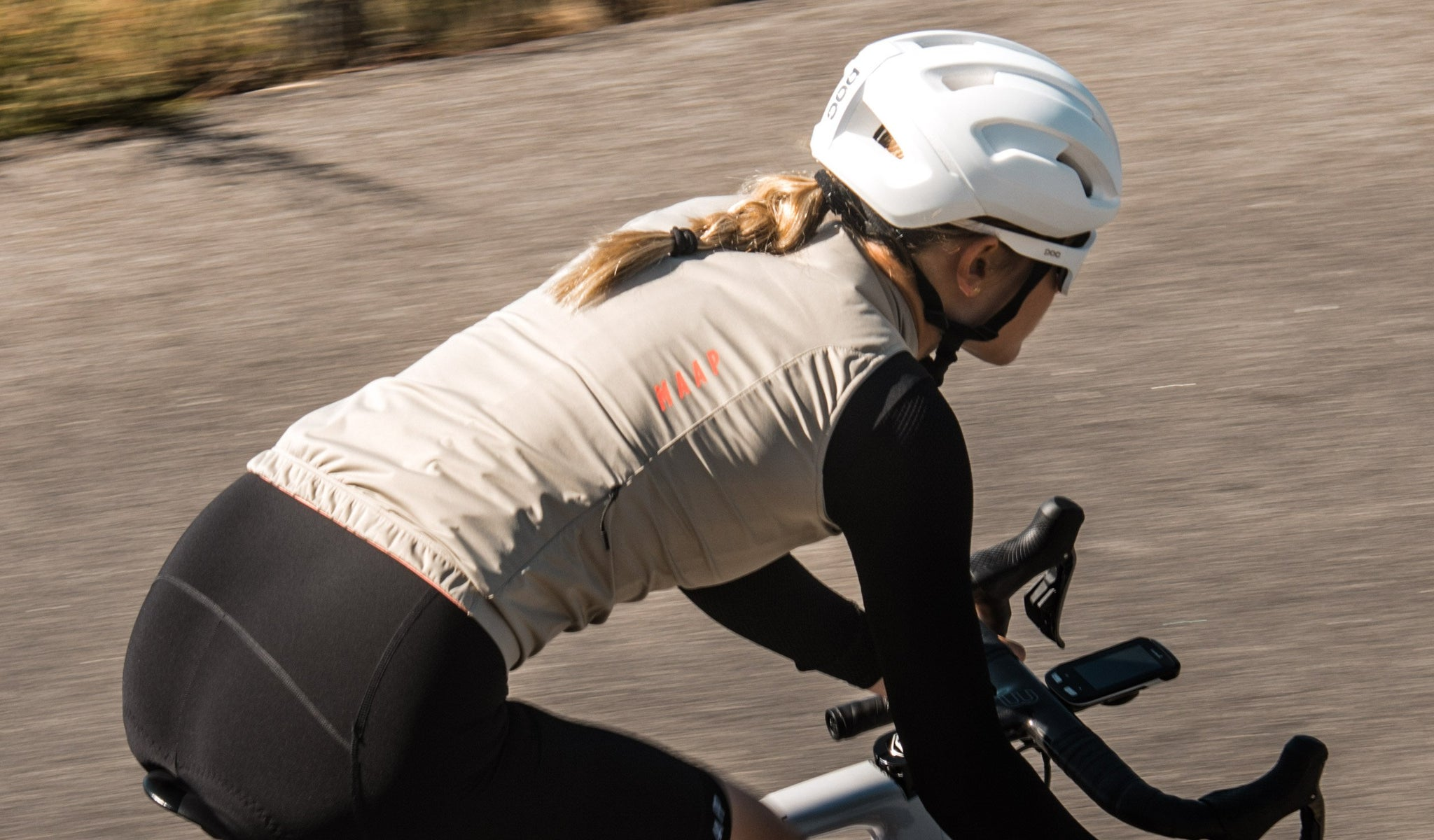 MAAP Women's Unite Team Cycling Vest in Gravel for riding in mild conditions.