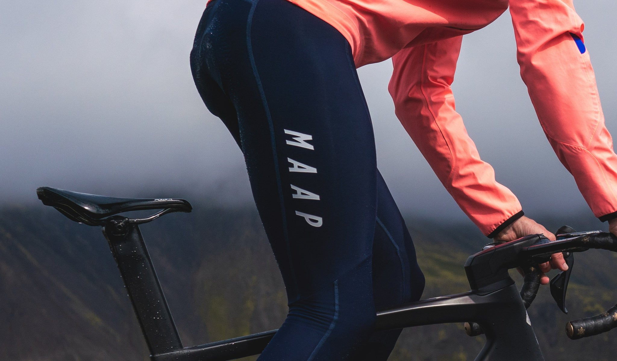 MAAP Team Thermal Cycling Bib Tights in Navy for riding in cold weather conditions.