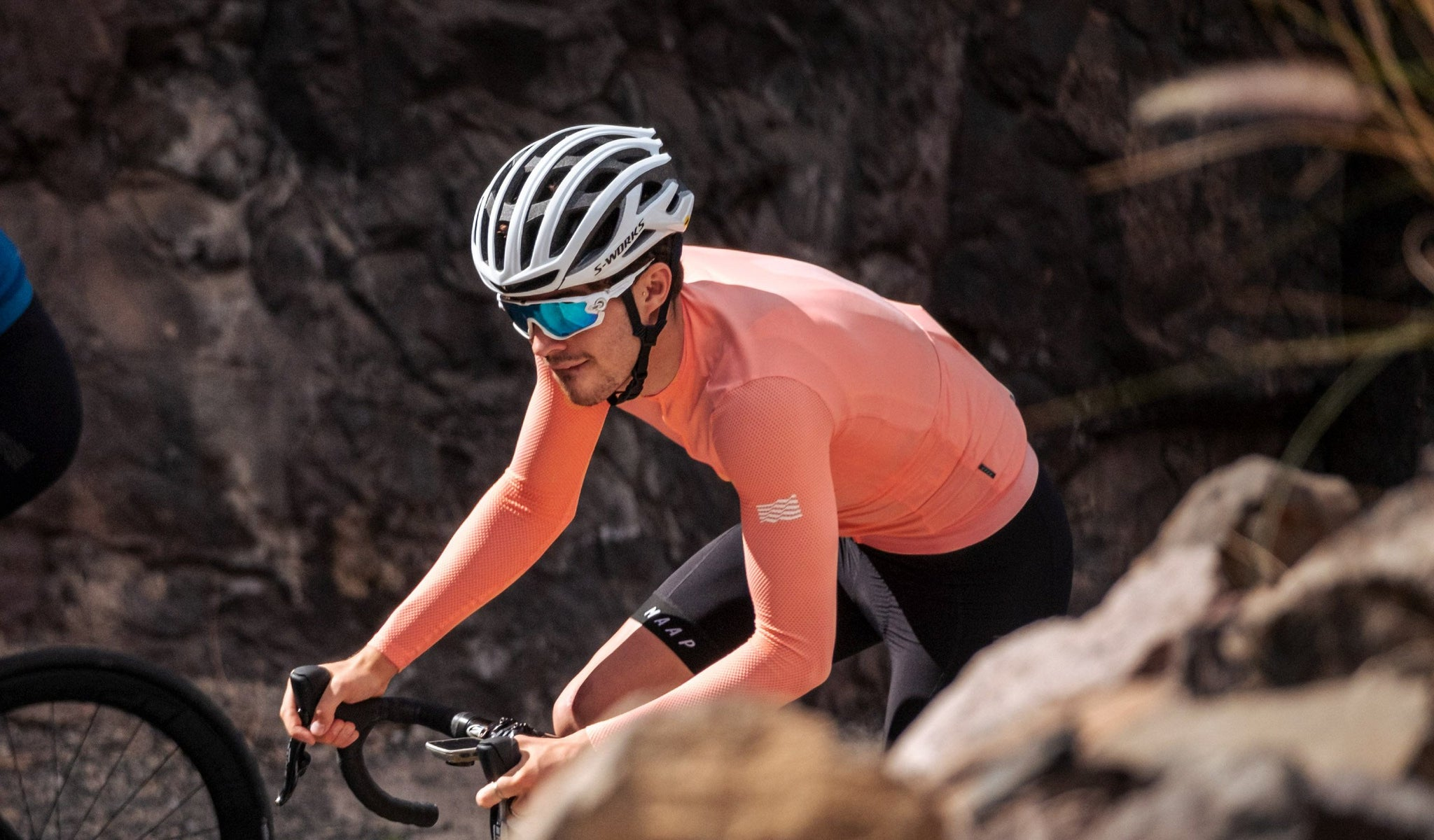 MAAP Echo Pro Base Long Sleeve Cycling Jersey in Light Coral for riding in mild conditions.