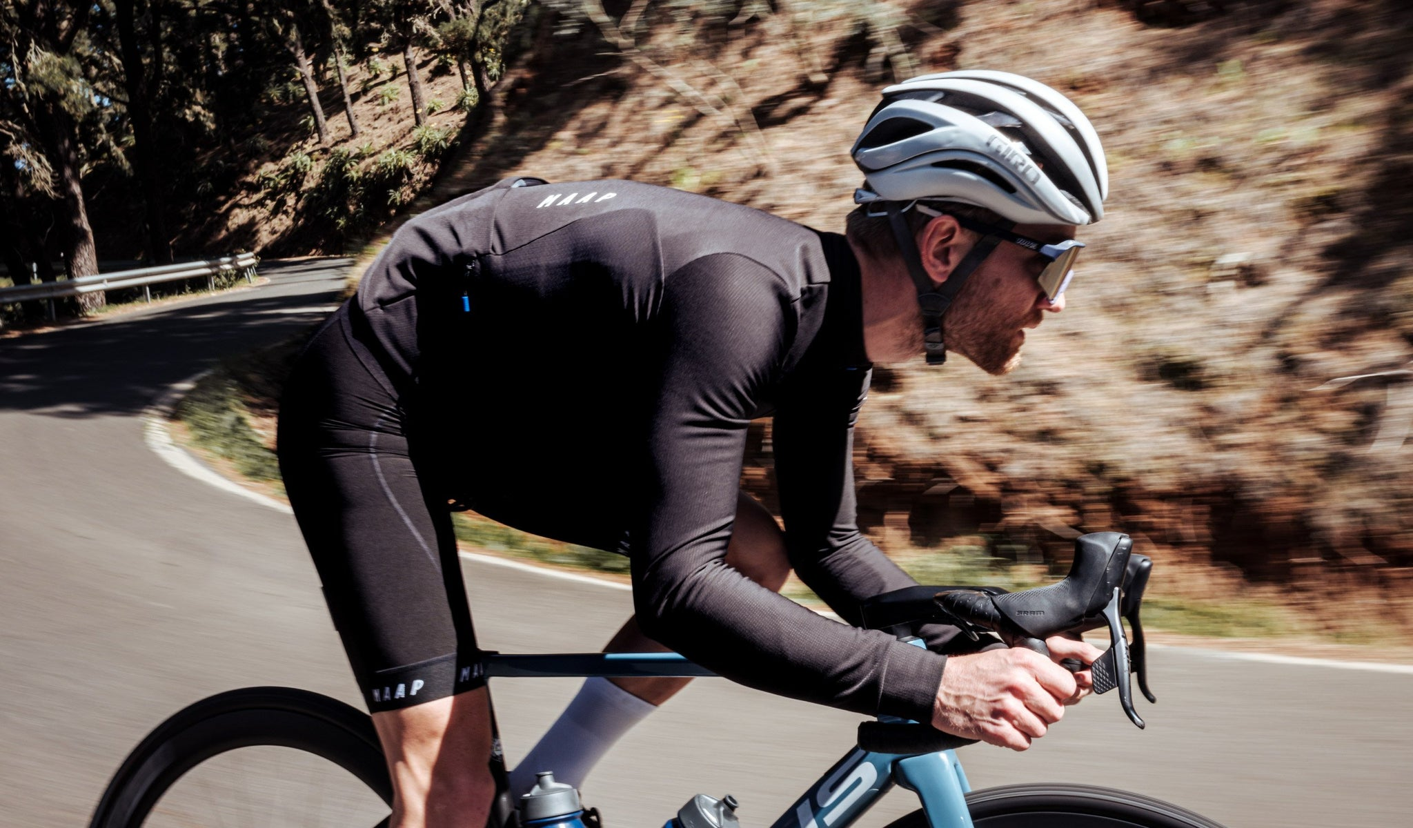 MAAP Force Pro Long Sleeve Cycling Jersey in Black for riding in mild conditions.