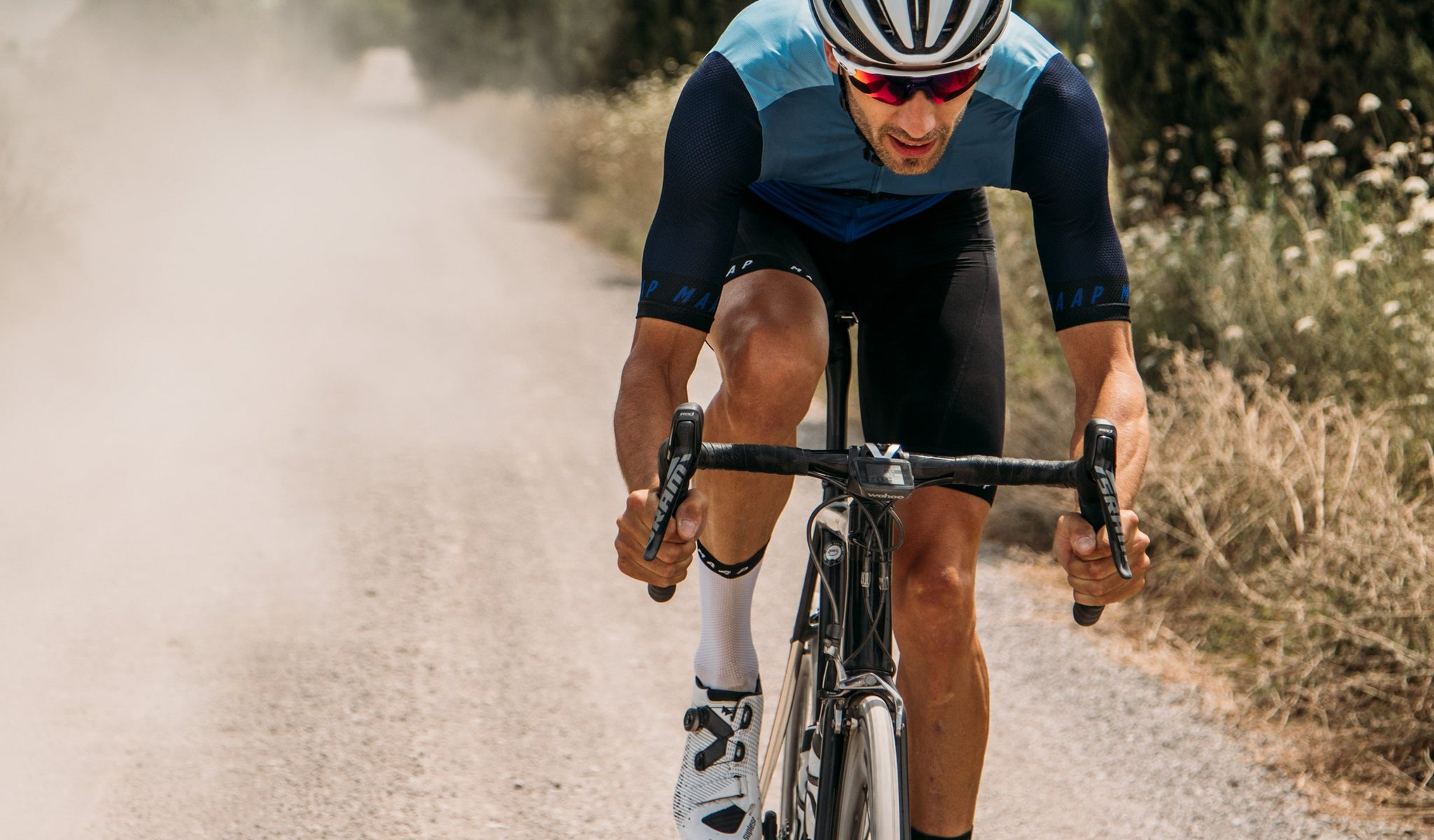 MAAP Pro Air Cycling Socks in White/Black for riding in warm weather conditions.