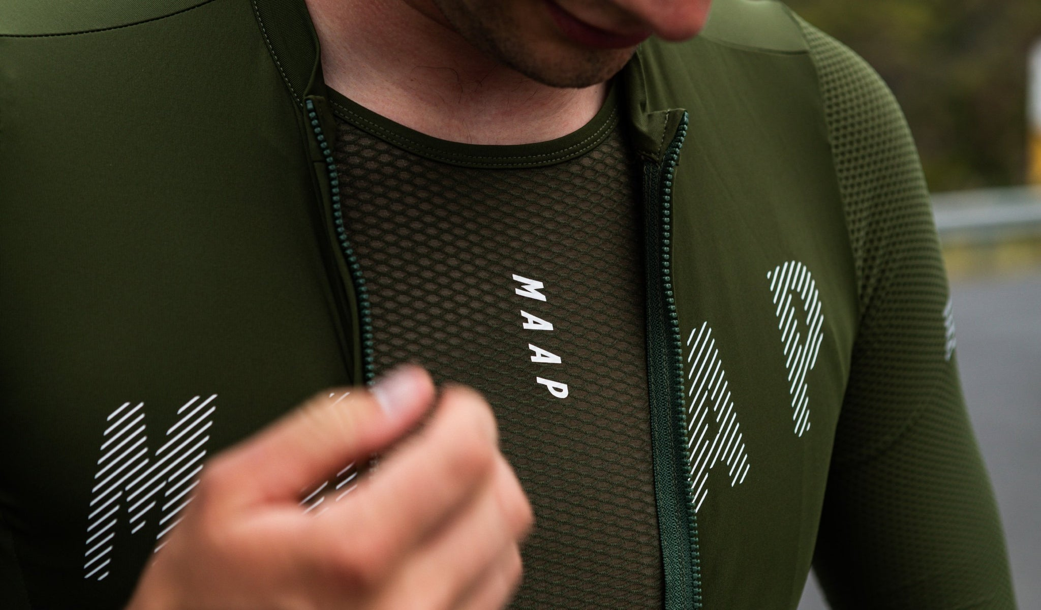 MAAP Team Cycling Base Layer in Military Green for riding in warm weather conditions.