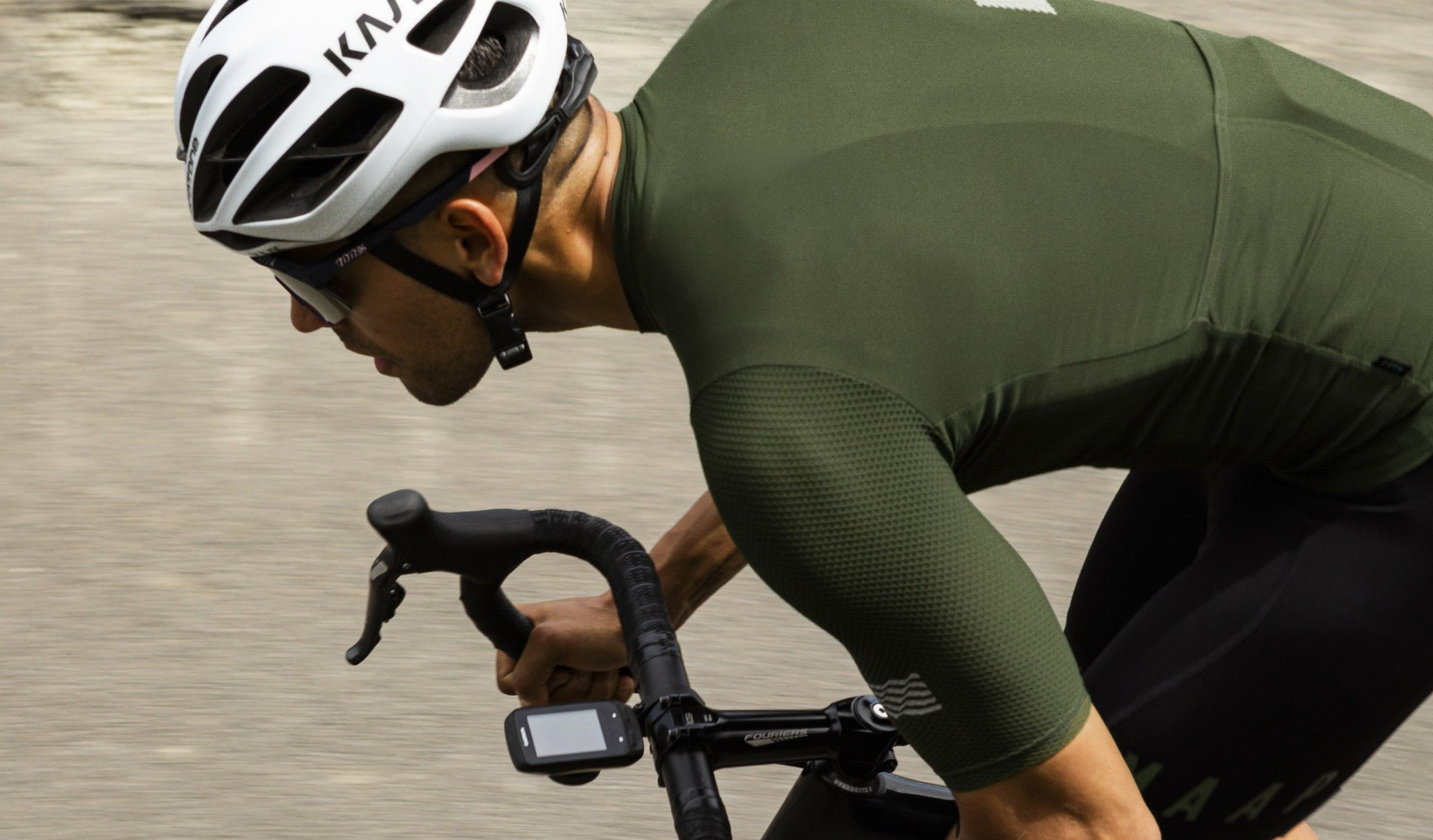 MAAP Echo Pro Base Cycling Jersey in Military Green for riding in warm weather conditions.