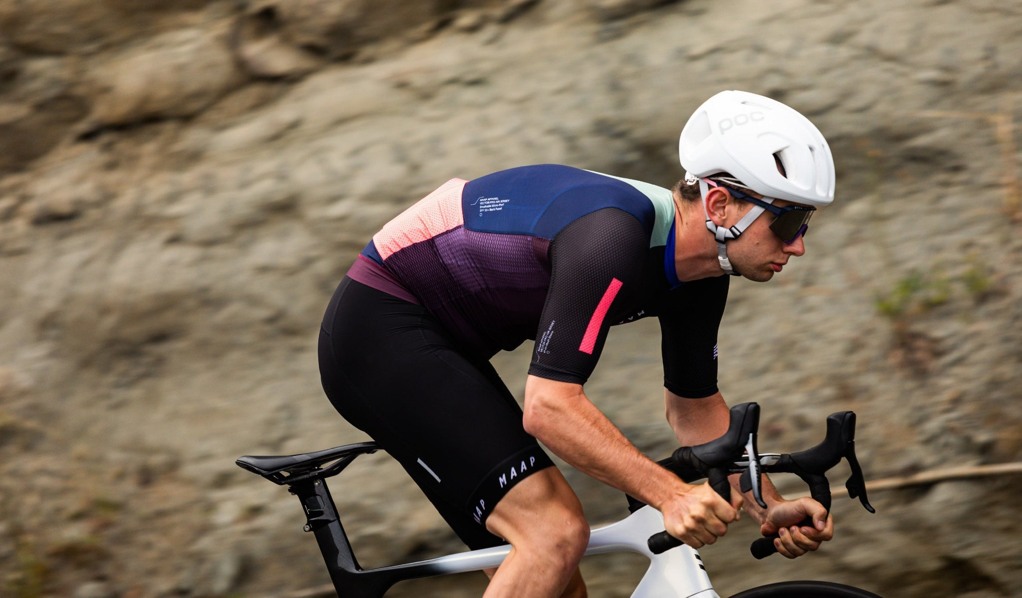 MAAP Vector Short Sleeve Cycling Jersey in Grape for riding in warm conditions.