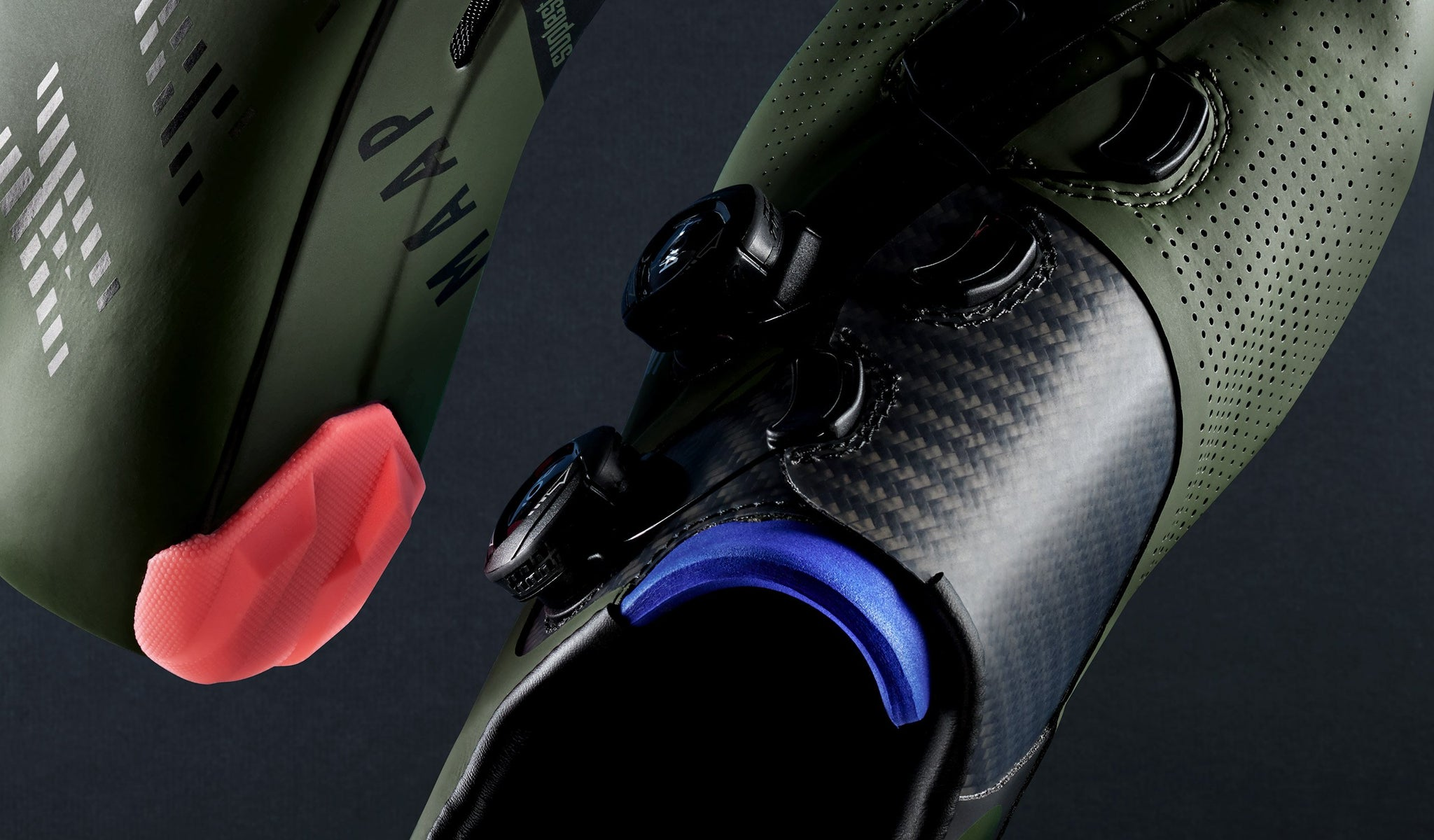 MAAP x Suplest Edge+ Pro Road Cycling Shoe in Army Green.
