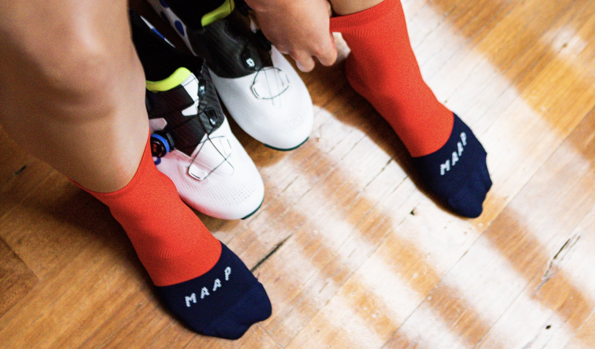 MAAP Division Cycling Socks in Chili Red for warm weather cycling conditions.