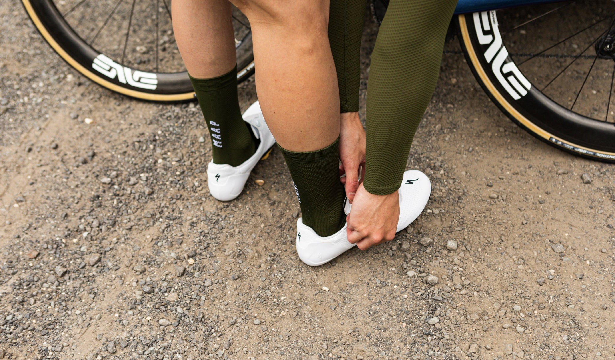 MAAP Division Socks in Military Green for cycling in warm weather conditions.