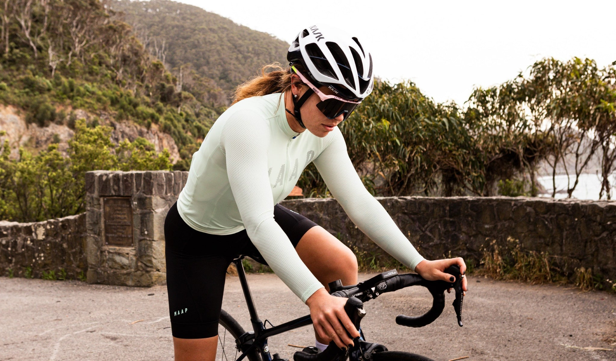 MAAP Women's Echo Pro Base Long Sleeve Cycling Jersey in Spearmint for riding in mild weather conditions.