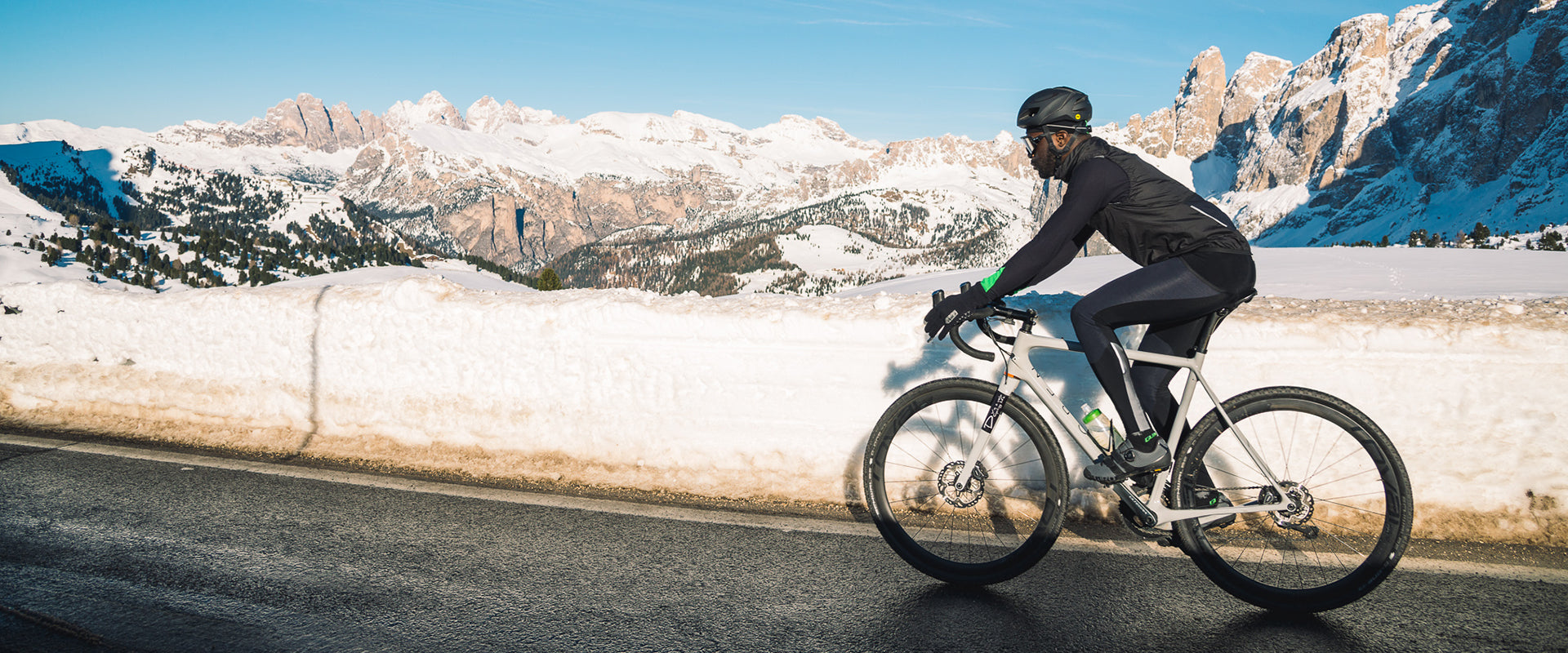 Adventure Winter Cycling Bib Tights in Black for cold weather riding.
