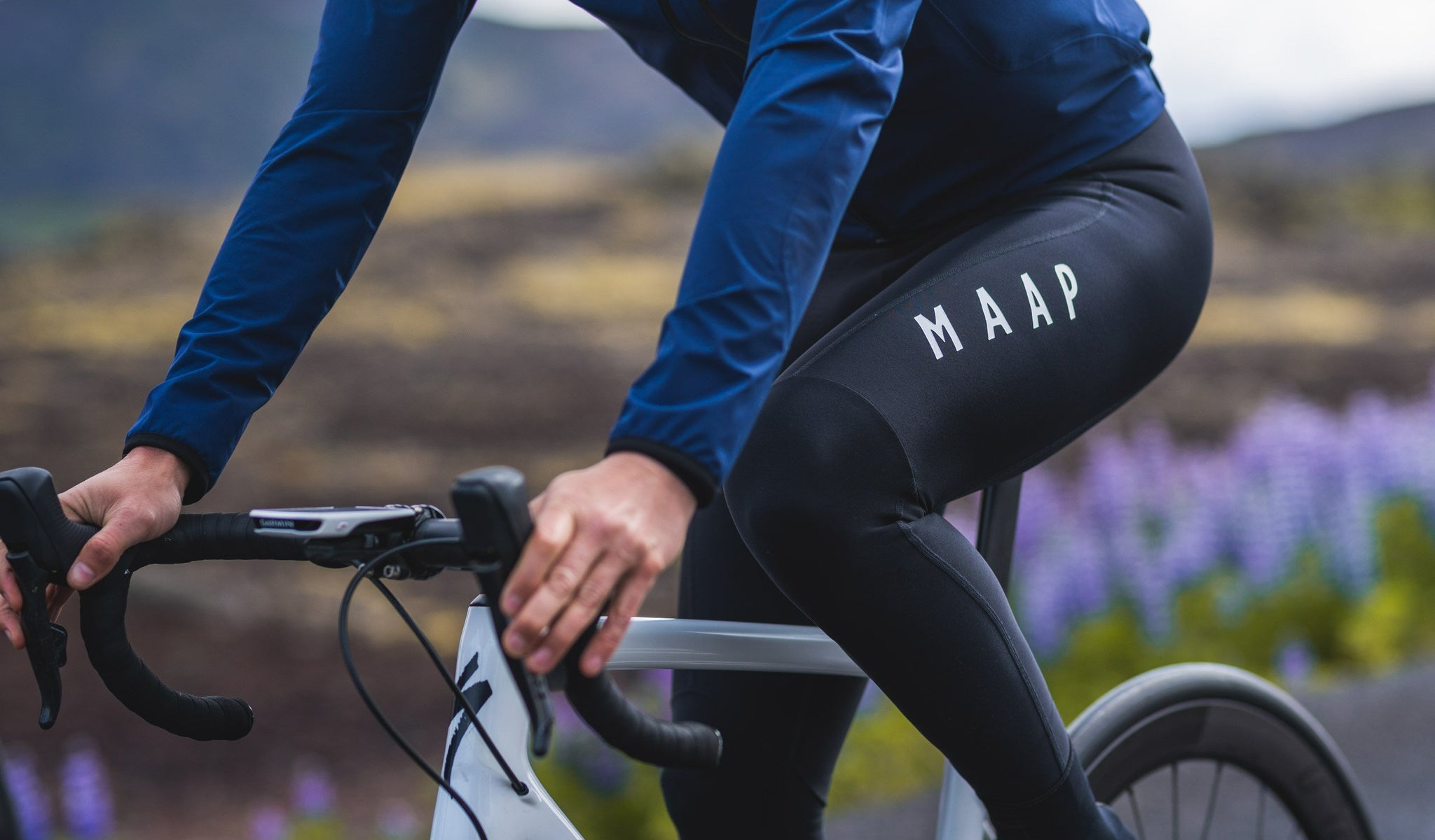 MAAP Team Thermal Cycling Bib Tights in Black for riding in cold weather conditions.