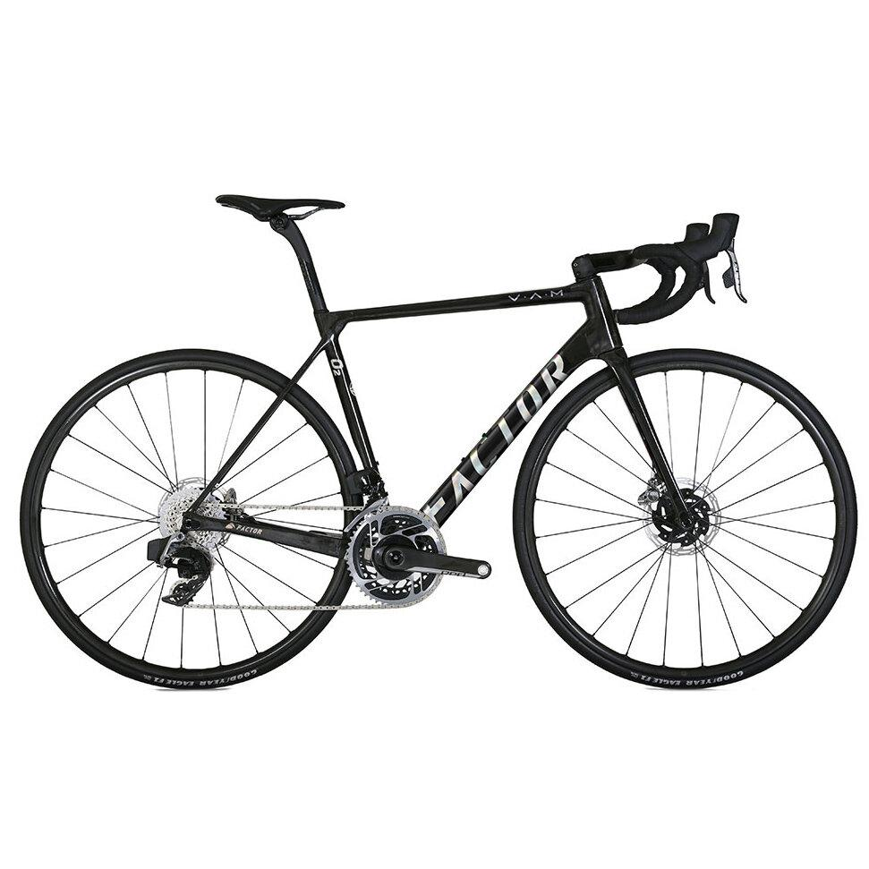"Factor O2 V.A.M. - Gloss Carbon Chrome Road Bicycle FACTOR SRAM Force ETAP AXS 49 (Recommended rider height 5'0"" - 5'3"")"