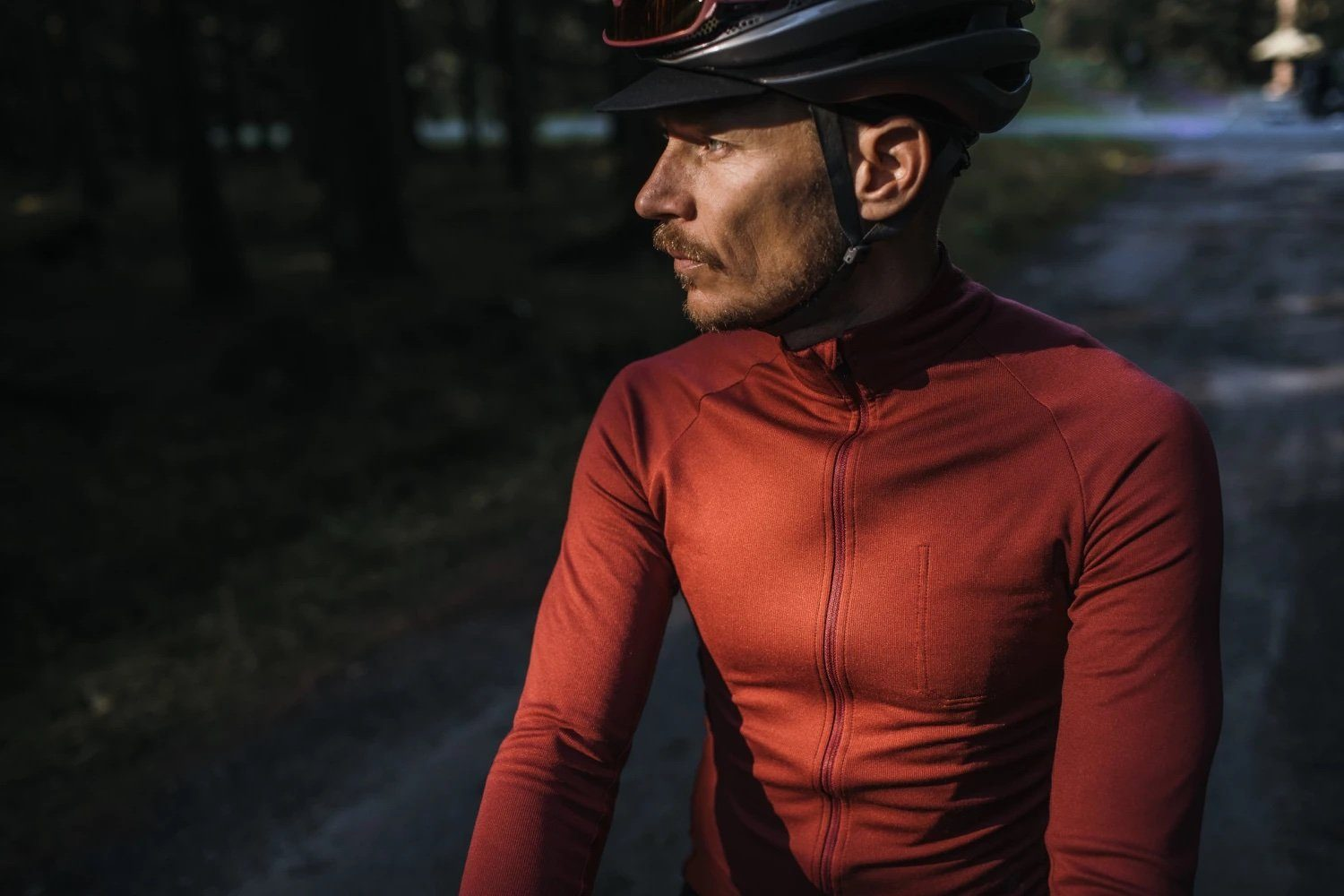 Long Sleeve Merino Cycling Jersey - Ruby Wine Cycling Jersey Isadore