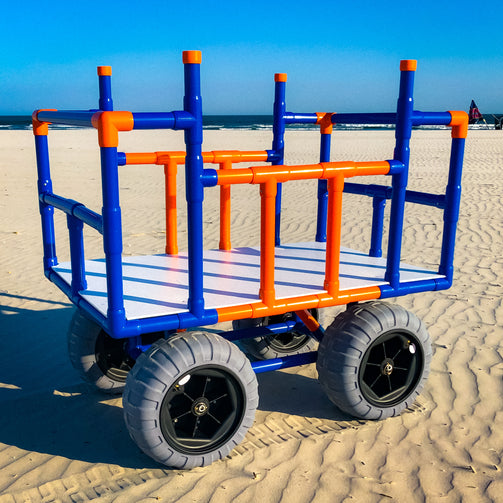 Blue and orange PVC Beach Cart Creations Beach Cart with Sand Glider Beach Wheels.