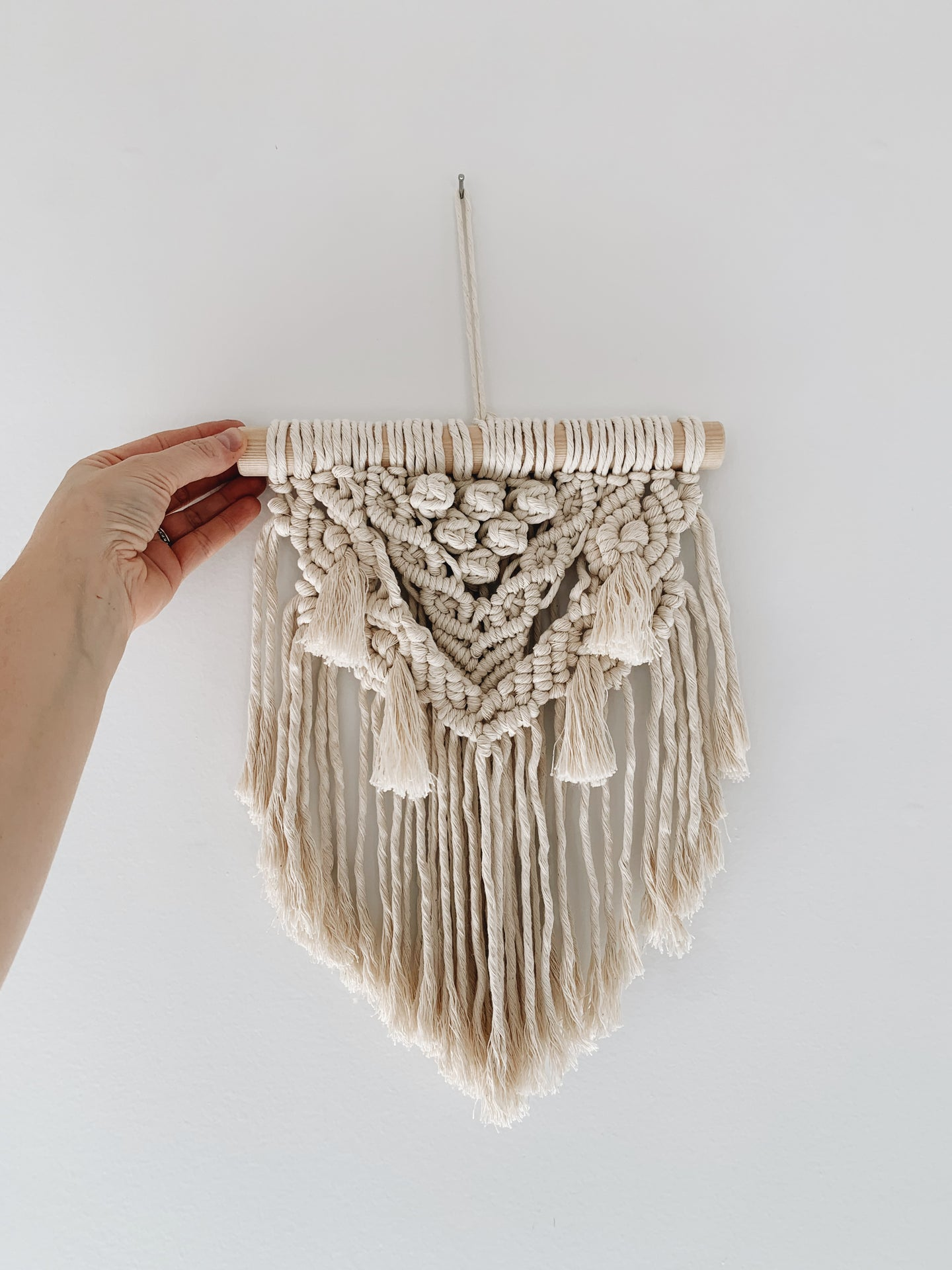 Small Boho Macrame Wall hanging on Natural dowel