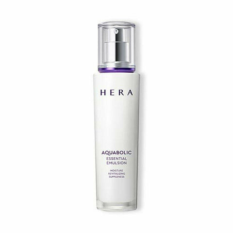HERA Aquabolic Essential Emulsion (120ml)  Features Moisturizing lotion gently protects skin with deep moisture and nourishment  How to use  - Put a small amount on both cheeks, forehead and chin  after using the toner in the morning and at night,  and apply by massaging in a circular motion.  - Use: 0.4ml (pump 1-2 times, diameter: 1.5cm)  Specification  Brand : HERA Country of origin : Republic of Korea Target Area : Face - Skin Type : All Skin Types Condition : 100% Brand-new with original box Capacity : 120ml