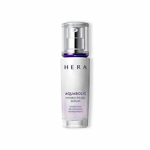 HERA Aquabolic Hydro Pearl Serum (40ml)  Features Moisturizing serum strengthening skin's moisture energy to allow the skin to lock in abundant moisture  How to use - Take an adequate amount after using the emulsion in the morning and at night, and apply across the face from the inside working outward. - Use: 0.3ml (diameter: 1.2cm)  Specification - Brand : HERA - Country of origin : Republic of Korea - Target Area : Face - Skin Type : All Skin Types - Condition : 100% Brand-new with original box - Capacity : 40ml