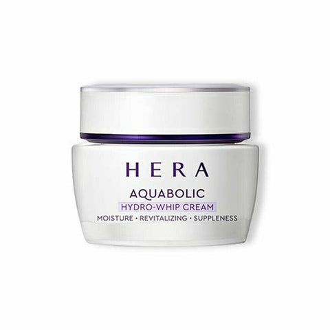 HERA Aquabolic Hydro Whip Cream (50ml)  Features Highly moisturizing cream strengthening skin moisture along the skin texture with abundant moisturizing ingredients  How to use - Put an adequate amount on both cheeks, chin and forehead at the cream step of your basic skincare routine in the morning and at night, and then gently apply from the center of the face outward. - Use: 0.4ml (diameter: 1.2cm)  Specification Brand : HERA Country of origin : Republic of Korea Target Area : Face - Skin Type : All Skin Types Condition : 100% Brand-new with original box Capacity : 50ml