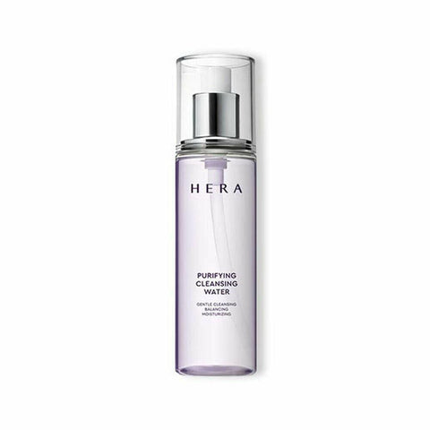 HERA Purifying Cleansing Water  Features One-step cleansing water removes makeup refreshingly  and keeps skin clear and moisturized  How to use Pump PURIFYING CLEANSING WATER twice on a cotton pad and leave it on the eye/lip makeup for a few seconds before wiping away.  Pump PURIFYING CLEANSING WATER again  twice on a new cotton pad and gently wipe over the whole face  to remove makeup. Rinsing with water is enough,  but if you want to feel even more refreshed,  wash the face using SILKY CLEANSING MOUSSE or PURIFYI NG CLEANSING FOAM.  Use: Pump twice  Specification Brand : HERA  Country of origin : Republic of Korea  Target Area : Face - Skin Type : All Skin Types  Condition : 100% Brand-new with original box  Capacity : 200ml