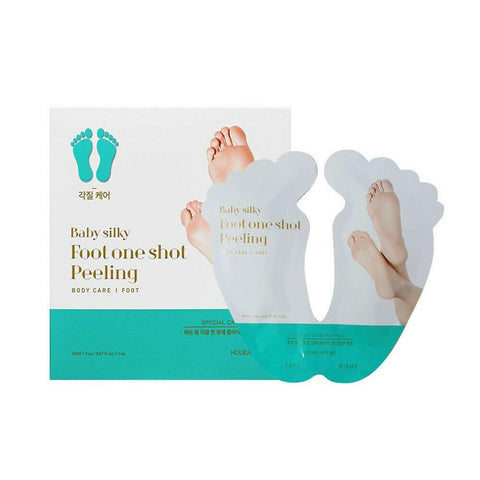 Holika Holika Baby Silky Foot One Shot Peeling  Features Holika Holika Baby Silky Foot One Shot Peeling is a simple one-step foot peeling pack, which is designed to smooth the soles  and surfaces of your feet and clear out dead skin cells.  It peels off even the thickest, roughest skin on your feet  and heels and removes those tough-to-manage calluses.  How to use Apply one plastic sock to each foot  and pour the contents of the pack into the socks.  There is one pack for each foot.  Leave the socks on for about 1 hour 30 min to aid absorption.  Remove the socks and wash your feet thoroughly with lukewarm water. bout 4~7 days later, your feet will start to peel  (NB. If they don't start peeling by themselves, give them a little push  along by washing your feet with very warm water and rubbing them  with a clothe). Once the dead skin start peeling,  things can get a little messy  so make sure you wear socks to bed and avoid wearing sandals! 1 - 2 weeks later, your feet will be smooth,  healthy and moisturised - just like a baby's!  Specification Brand : Holika Holika  Country of origin : Republic of Korea  Target Area : Foot - Skin Type : All Skin Types  Condition : 100% Brand-new with original box  Capacity : 20ml