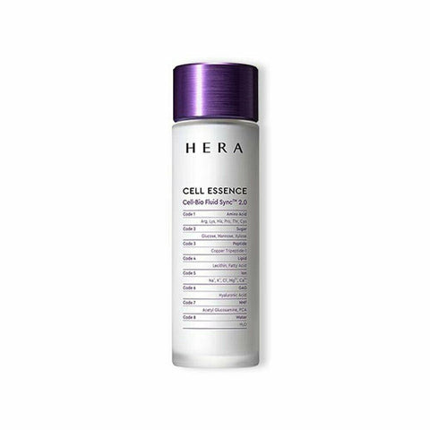 HERA Cell Essence (150ml)  Features First-step essence providing moisture and flawless, clear complexion by smoothing the signs of Skin DesertificationTM  How to use Take 2.5ml of CELL ESSENCE (recommended amount) on your hands or a cotton pad after washing the face in the morning and at night.  To apply it using your hands, sprinkle the essence on your hands  and spread over the face. Gently pat it into the face with your fingertips.  To apply it using a cotton pad, hold the cotton pad  between your fingers by wrapping it around the middle finger  and gently sweep and pat the face with it, working from the inside outward. Recommended amount: 2.5ml (enough to drench 1/3 of the cotton pad)  Specification Brand : HERA  Country of origin : Republic of Korea  Target Area : Face - Skin Type : All Skin Types  Condition : 100% Brand-new with original box  Capacity : 150ml