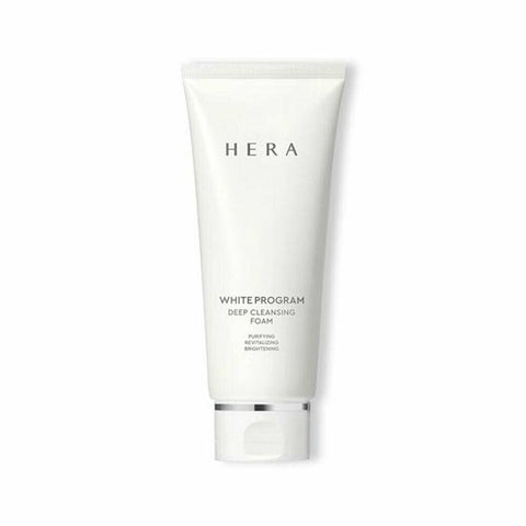 HERA White Program Deep Cleansing Foam (200ml)  Features Brightening cleansing foam makes skin look bright  and clear with cellulose beads and abundant soft foam  How to use - Wash the face with lukewarm water and take an adequate amount to make a lather. - As you work up lather, pink cellulose beads break. - Gently cleanse the face like you are massaging it with lather. - Rinse off with lukewarm water and again with cold water. - Use: 1ml (diameter: 2cm)  Specification Brand : HERA  Country of origin : Republic of Korea  Target Area : Face - Skin Type : All Skin Types  Condition : 100% Brand-new with original box  Capacity : 200ml