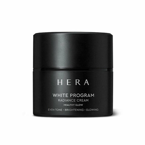 HERA White Program Radiance Cream (50ml)  Features Mild cream that provides intensive care  for dark spots to create bright and even-toned skin  How to use Gently apply all over the face at the cream step of your skincare routine  in the morning and at night,  and cup the face with your hands to help the skin absorb.  Use: 0.4ml (for a single dose)  Specification Brand : HERA Country of origin : Republic of Korea Target Area : Face - Skin Type : All Skin Types Condition : 100% Brand-new with original box Capacity : 50ml
