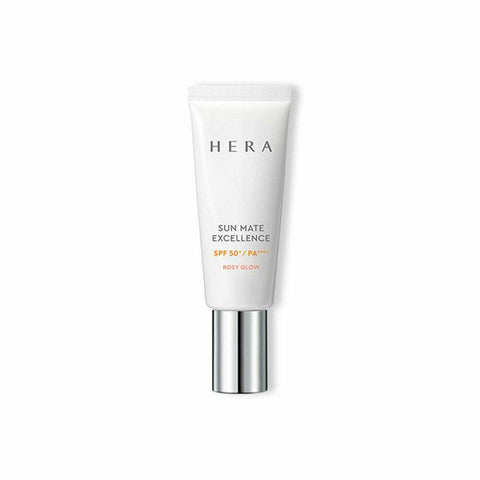 HERA Sun Mate Excellence (40ml) SPF50+/PA++++  Features Luminous sun care solution to filter the spectrum of light  and create glowing skin  How to use - Take an adequate amount at the last step of your morning skincare routine and apply all across the face   Lightly dab on more exposed areas such as the forehead,  nose and cheekbones. Be careful to avoid the product going into your eyes.  Clean the mouth of the tube and close it tight after use. Keep it at room temperature.  Specification Brand : HERA  Country of origin : Republic of Korea  Target Area : Face - Skin Type : All Skin Types  Condition : 100% Brand-new with original box  Capacity : 40ml