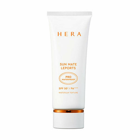 HERA Sun Mate Leports Pro Waterproof (70ml) SPF50+/PA++++  Features Sunscreen that offers both water and sweat resistance  with strong UV protection for prolonged outdoor activity  How to use Take an adequate amount at the last step of your morning skincare routine and apply all across the face  Lightly dab on more exposed areas  such as the forehead, nose and  cheekbones. Be careful  to avoid the product going into your eyes.  Clean the mouth of the tube and close it tight after use.  Keep it at room temperature. - Use: 0.5ml (diameter: 1.8cm)  Specification Brand : HERA Country of origin : Republic of Korea Target Area : Face - Skin Type : All Skin Types Condition : 100% Brand-new with original box Capacity : 70ml